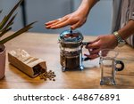 french press coffee   Shutterstock . vector #648676891