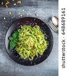 tagliatelle pasta with pesto... | Shutterstock . vector #648689161