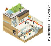 isometric underground station...   Shutterstock .eps vector #648690697