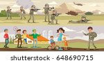 colorful military horizontal... | Shutterstock .eps vector #648690715