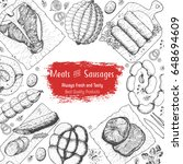 meat and sausages top view... | Shutterstock .eps vector #648694609