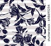 vector floral watercolor... | Shutterstock .eps vector #648695254
