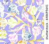 vector floral watercolor... | Shutterstock .eps vector #648695641