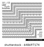 vector set of 10 doodles lace... | Shutterstock .eps vector #648697174