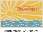 Stock vector summer retro poster abstract sun and sea vintage design vector illustration 648705091