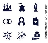 celebration icons set. set of 9 ... | Shutterstock .eps vector #648705109