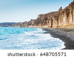 beautiful beach with volcanic... | Shutterstock . vector #648705571