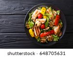 grilled chicken breast and... | Shutterstock . vector #648705631