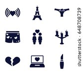 romantic icons set. set of 9...   Shutterstock .eps vector #648708739