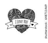 vector black and white heart...   Shutterstock .eps vector #648711469