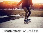 skateboarder guy prepares for a ... | Shutterstock . vector #648711541