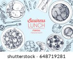 lunch top view frame. food menu ...   Shutterstock .eps vector #648719281