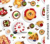 dessert top view. seamless...   Shutterstock .eps vector #648719551