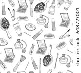 hand drawn makeup elements.... | Shutterstock .eps vector #648729001