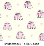 cute hand drawn skirt pattern... | Shutterstock .eps vector #648735355