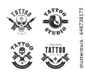 tattoo studio emblems set. hand ... | Shutterstock .eps vector #648738175