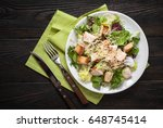 fresh caesar salad in white... | Shutterstock . vector #648745414