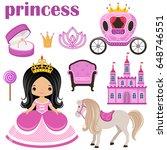 little cute vector princess ... | Shutterstock .eps vector #648746551