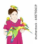 adult woman feed lovebirds and... | Shutterstock . vector #648750619