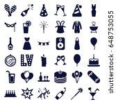 party icons set. set of 36... | Shutterstock .eps vector #648753055