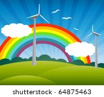 landscape with windmills, a rainbow, birds and clouds - stock vector