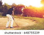 full length of male golfer... | Shutterstock . vector #648755239