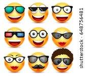 smiley with glasses smiling... | Shutterstock .eps vector #648756481