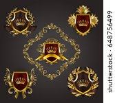 set of golden royal shields... | Shutterstock .eps vector #648756499