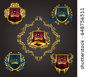 set of golden royal shields... | Shutterstock .eps vector #648756511