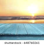 blue table top against blurred... | Shutterstock . vector #648760261