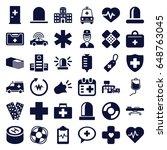 emergency icons set. set of 36...   Shutterstock .eps vector #648763045