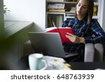 concentrated young female... | Shutterstock . vector #648763939