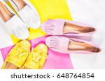 moccasins  yellow pink white... | Shutterstock . vector #648764854