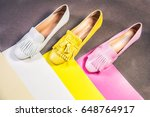 moccasins  yellow pink white... | Shutterstock . vector #648764917
