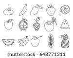 fruit icon set hand drawn...   Shutterstock .eps vector #648771211