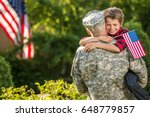 american soldier reunited with... | Shutterstock . vector #648779857