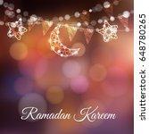 garlands with decorative moons  ... | Shutterstock .eps vector #648780265