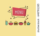 colorful retro style menu cover ... | Shutterstock .eps vector #648781285