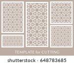 decorative panels set for laser ...   Shutterstock .eps vector #648783685