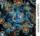 Paisley Seamless Pattern. Blue...