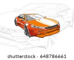 car concept.car sketch.vector... | Shutterstock .eps vector #648786661
