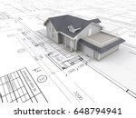 house and blueprints. top... | Shutterstock . vector #648794941