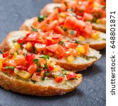 appetizer bruschetta with... | Shutterstock . vector #648801871