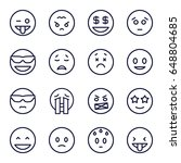 emoticon icons set. set of 16... | Shutterstock .eps vector #648804685