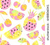 seamless pattern with fruits.... | Shutterstock .eps vector #648806041