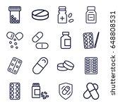 pill icons set. set of 16 pill... | Shutterstock .eps vector #648808531