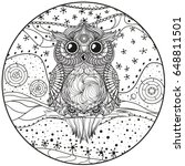 mandala with owl. design... | Shutterstock .eps vector #648811501