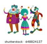 three happy clowns   Shutterstock .eps vector #648824137