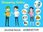 people shopping online with... | Shutterstock .eps vector #648830749