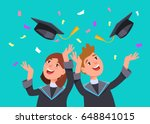 couple happy smiling graduates... | Shutterstock .eps vector #648841015